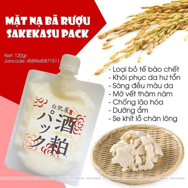 Mặt nạ bã rượu Sake Kasu Face Pack 120g  1