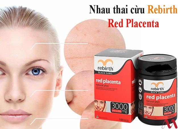 Viên uống nhau thai cừu Rebirth Red Placenta 3000mg mẫu mới 2