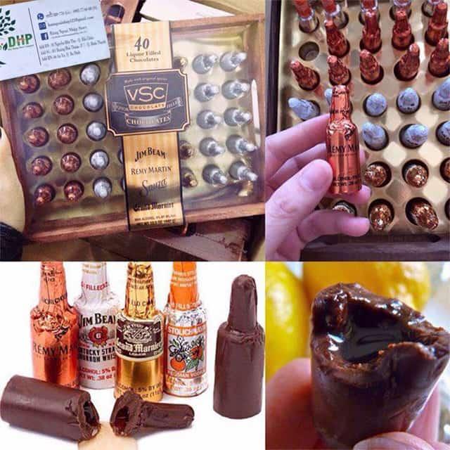 Socola nhân rượu hộp gỗ VSC Jim Beam Remy Martin 40 chai 3