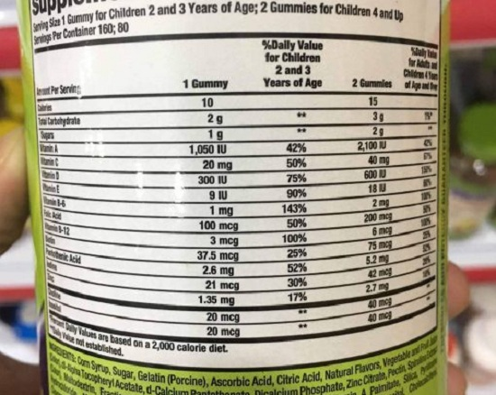 Kẹo dẻo vitamin cho bé Kirkland Children's Complete Gummies 2