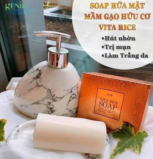 Soap rửa mặt Genie Vita Rice có tốt không-3