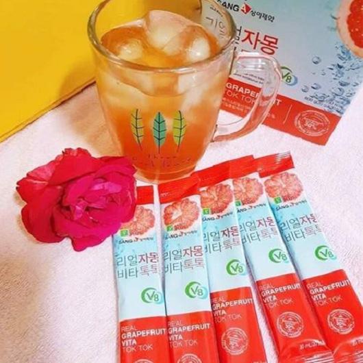 Nước uống Sanga Real Grapefruit Vita Tok Tok, nước ép bưởi đỏ 8