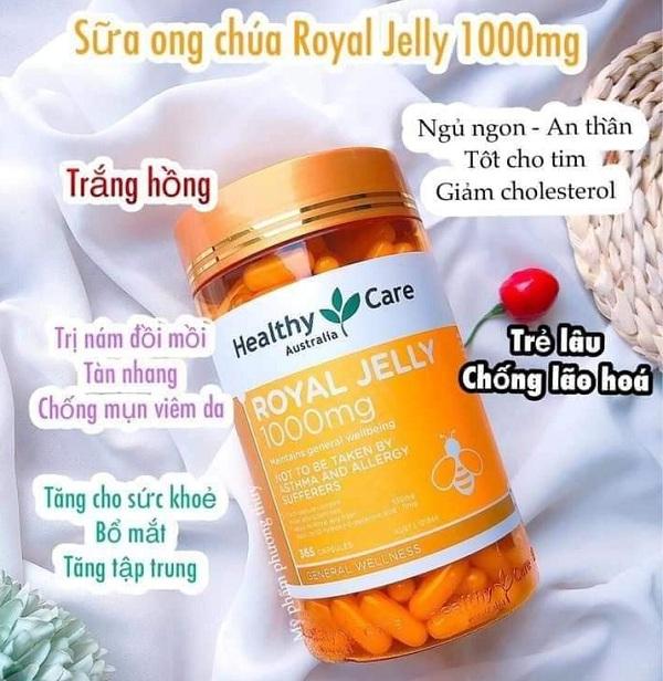 Sữa ong chúa Healthy Care mẫu mới Royal Jelly 1000mg Úc 1