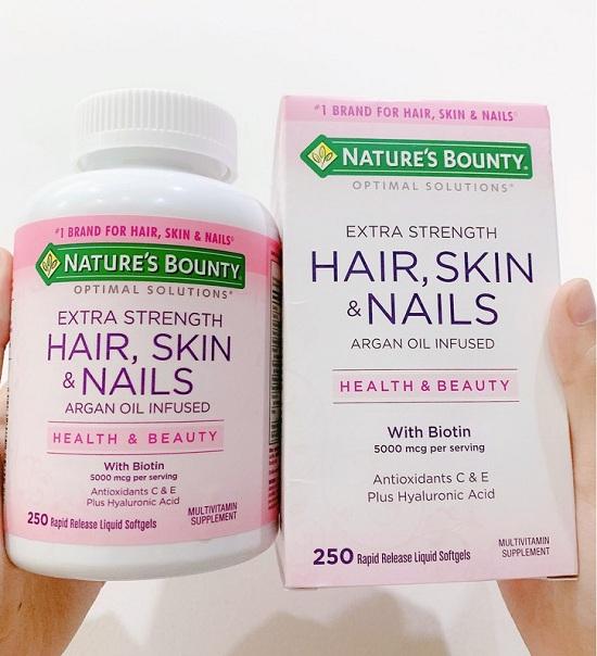 Viên đẹp da móng tóc Nature's Bounty Hair, Skin & Nails 250 2