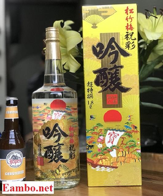 Rượu sake vẩy vàng Takara Shozu 1,8 lít mặt trời đỏ Nhật 1