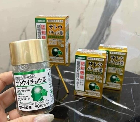 Viên uống bổ não Sato 60 viên Nhật Bản từ lá bạch quả 1